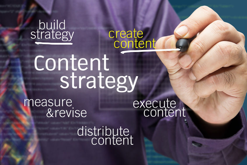 31279905 – businessman writing content strategy concept on screen